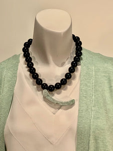 Semi Precious Onyx and Jade One of a Kind Necklace Made in California.