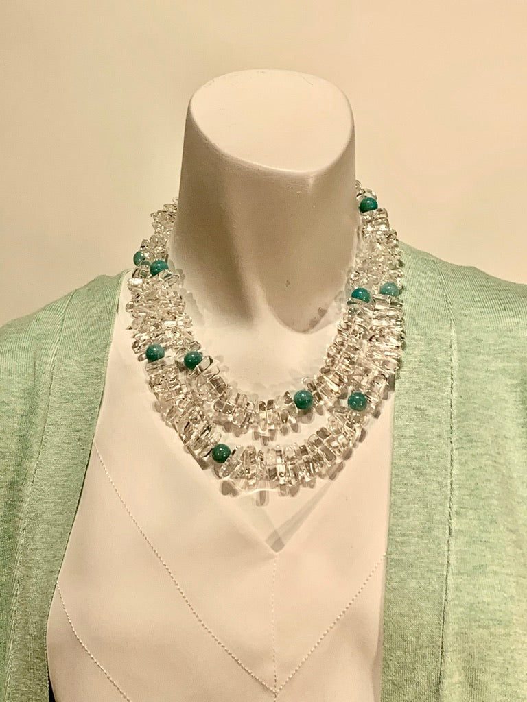 Semi Precious Crystal and Turquoise One of a Kind Necklace Made in California.
