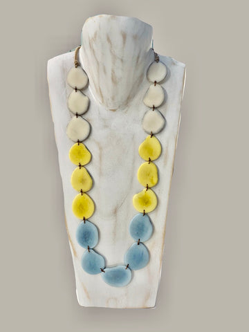 Tagua Organic Fair Trade Necklace in Cream, Yellow and Blue