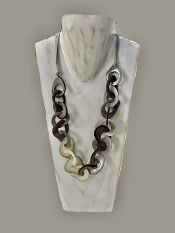 Tagua Organic Fair Trade Necklace in Grey and Cream Adjustable