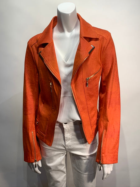 Insight Liquid Leather Short Orange Jacket with Zip Accents- 011429