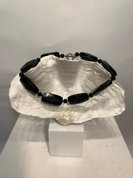 Semi Precious Onyx One of a Kind Necklace Made in California.