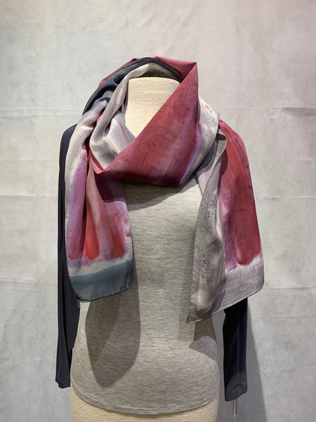 Magenta Silver Rust and Grey Hand Painted 100% Silk Scarf