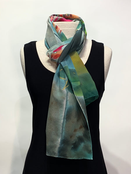 Water Color Garden Hand Painted 100% Silk Scarf
