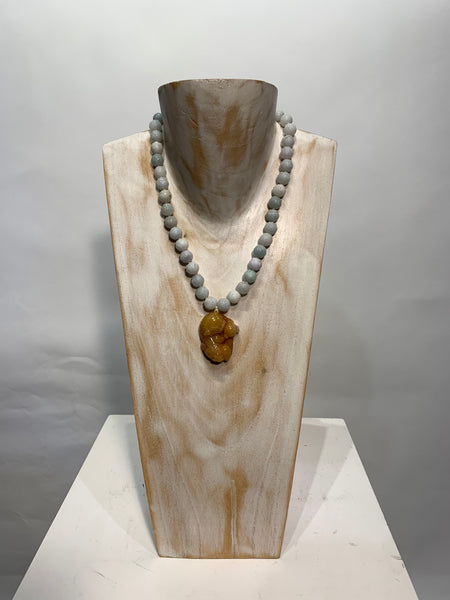 Semi Precious Polished Jade Beads with a Jade Dragon One of a Kind Necklace made in California