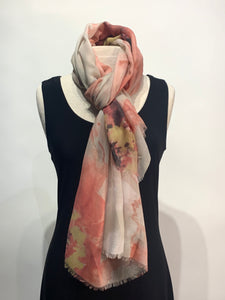 Beautiful Extra Large Soft Watercolor Floral Print Scarf