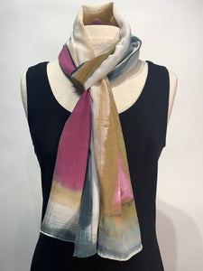 Water Color Abstract Hand Painted 100% Silk Scarf