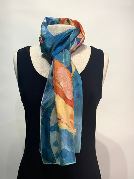 Aqua, Yellow and Mango Water Color Koi Fish Hand Painted 100% Silk Scarf