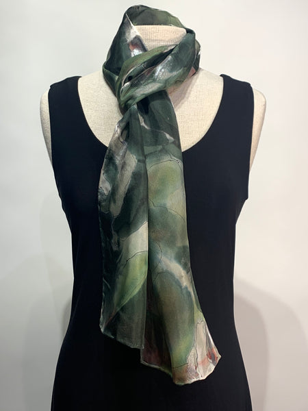 Abstract Camo in Rich Green Tones Hand Painted 100% Silk Scarf