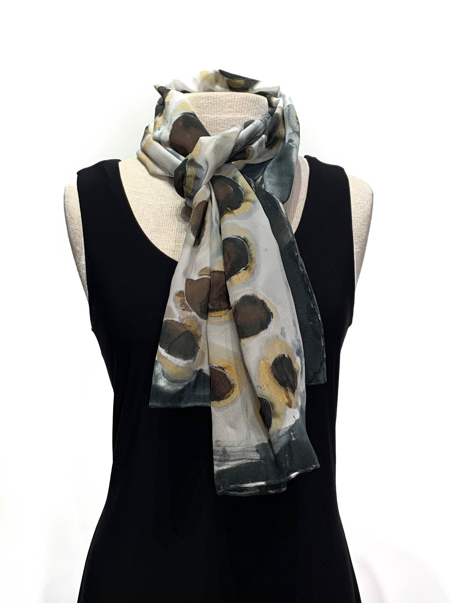 Hand-Painted Silk Gold,White, Brown and Black Dotted Scarf