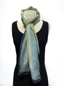 Aqua Water Color Hand Painted 100% Silk Scarf