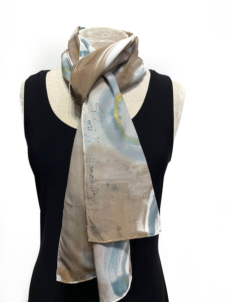 Light Tan, White and Pale Blue Hand Painted 100% Silk Scarf