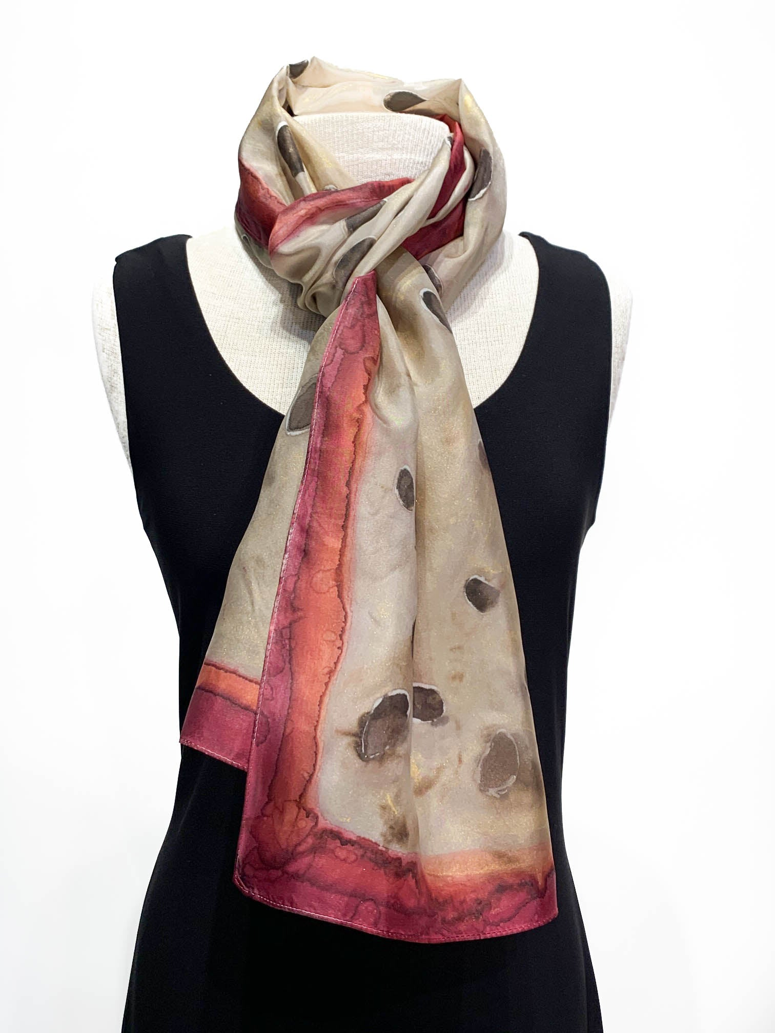 Dot Water Color in Grey Brown Camel Rich Burgundy and Cream Hand Painted 100% Silk Scarf