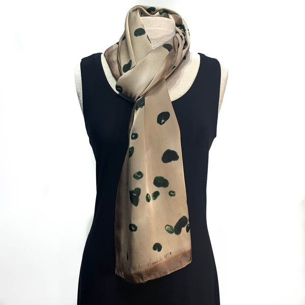 Tan and Gold with Black Cheetah Hand Painted 100% Silk Charmeuse Scarf
