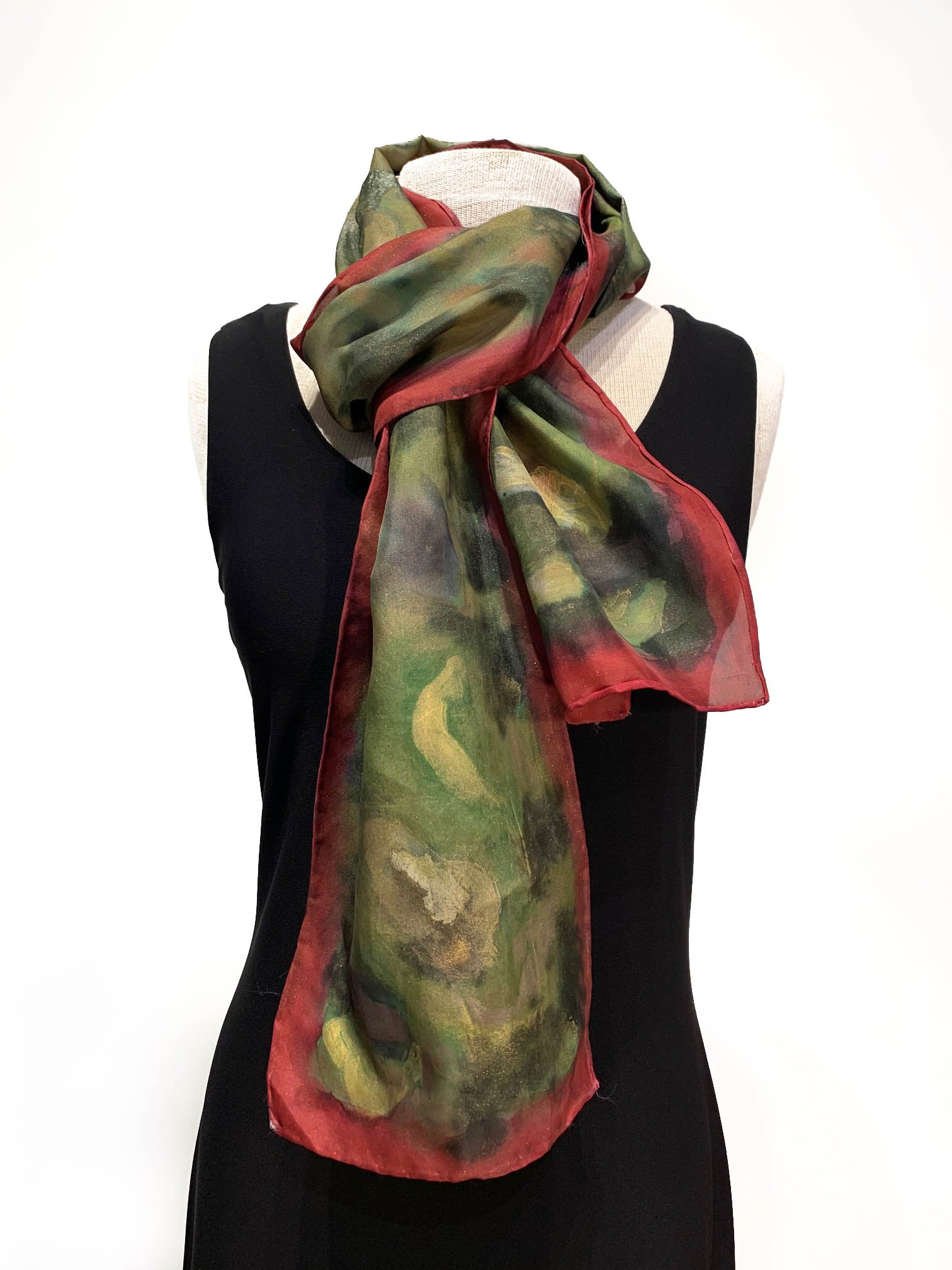 Abstract Camo in Rust and Rich Green Tones Hand Painted 100% Silk Scarf
