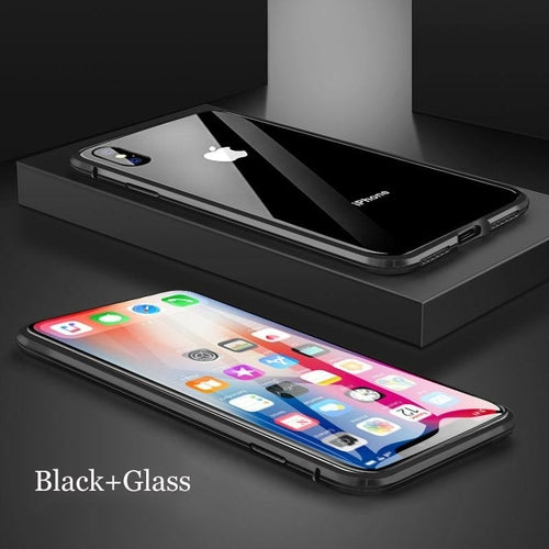Metal Magnetic Adsorption Case For iPhone XS MAX X XR 6 6S Plus Double