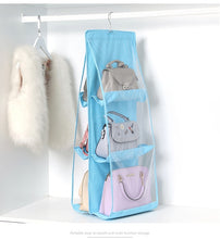 Load image into Gallery viewer, 6 Pocket Foldable Hanging Bag 3 Layers Folding Shelf Bag Purse Handbag Organizer Door Sundry Pocket Hanger Storage Closet Hanger