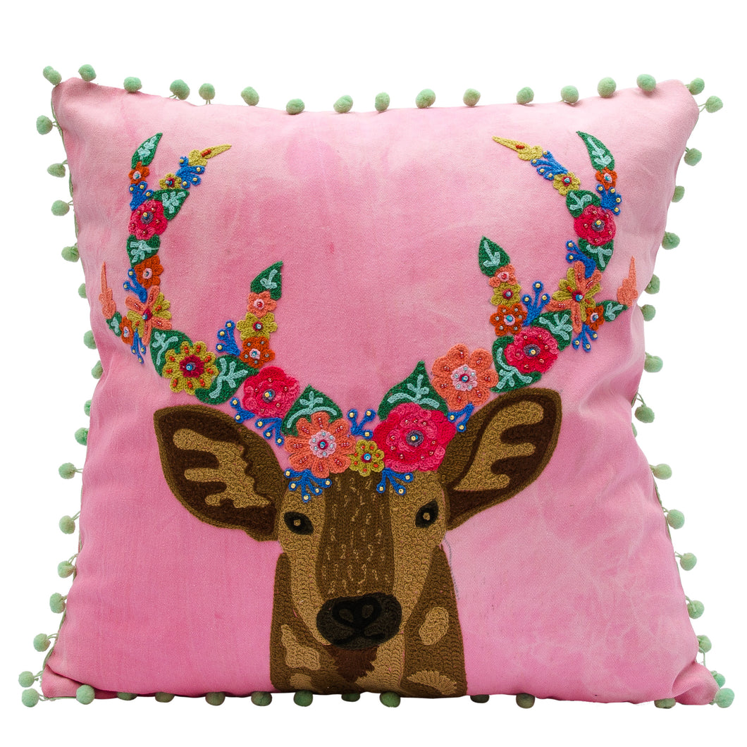 Reindeer pillow with floral horns 18