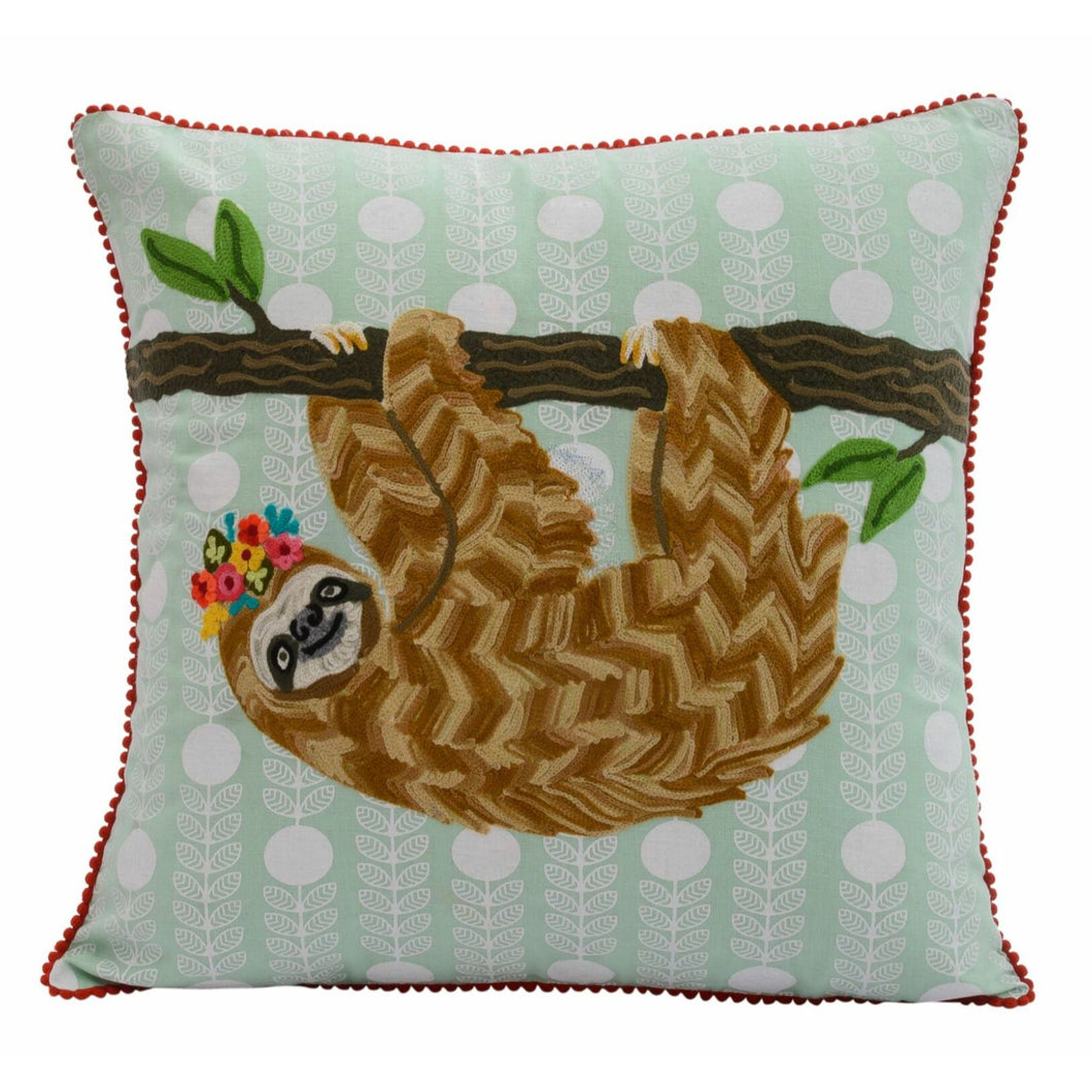 Embroidery Sloth Pillow 18