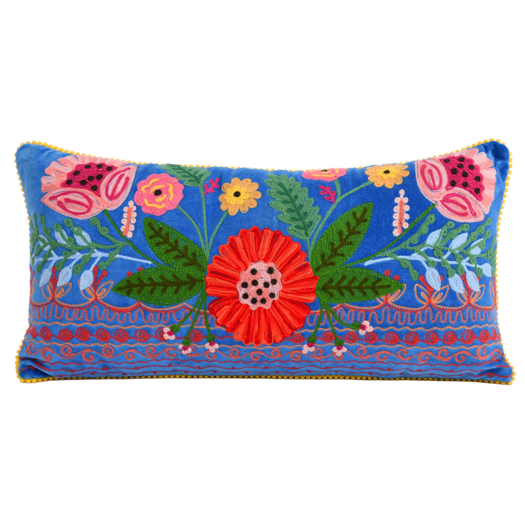 Riviera Botanic Blue Pillow