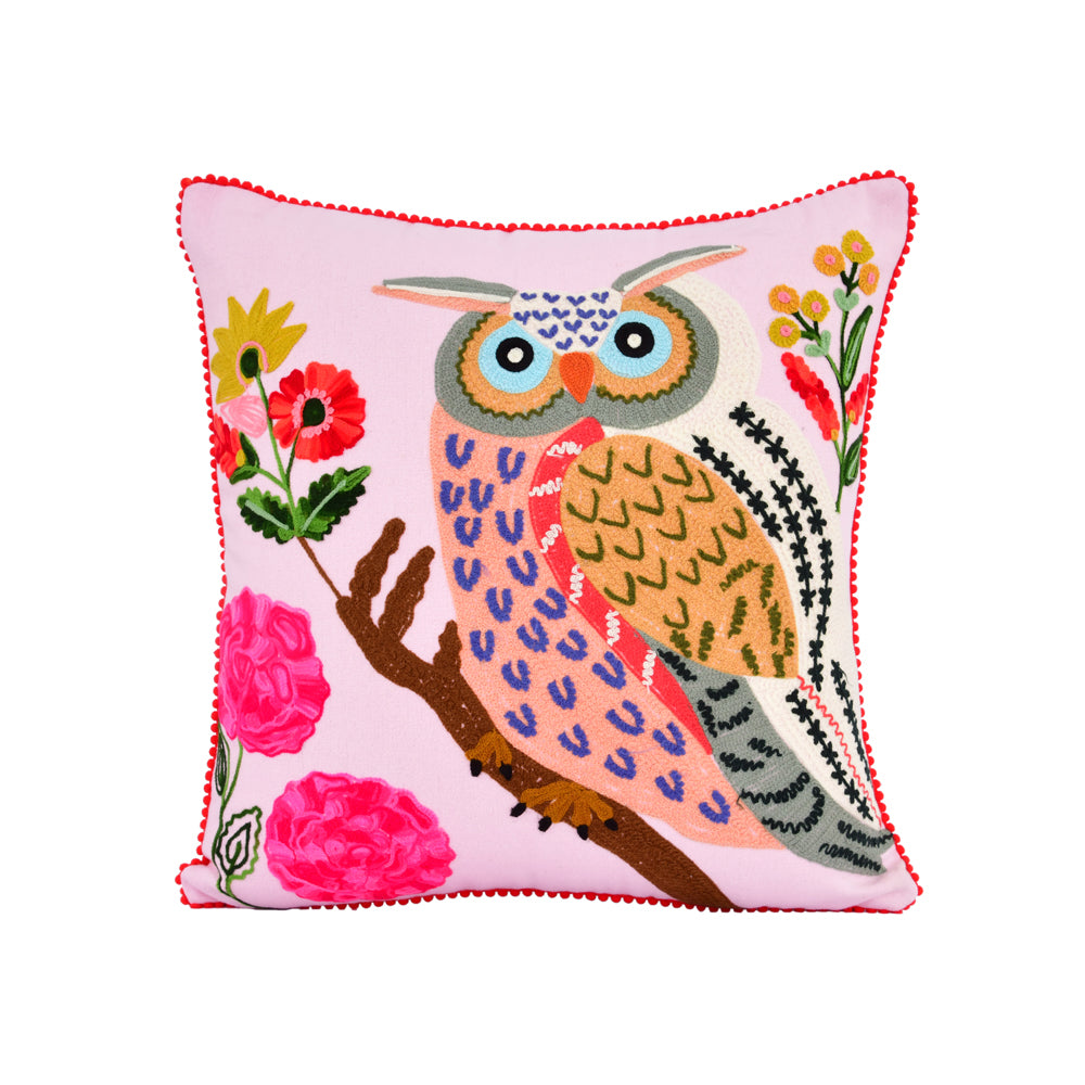Sentimental owl embroidery pillow 18