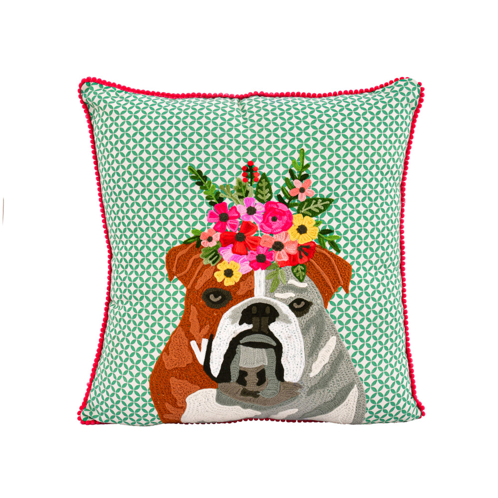 Faithful bulldog pillow 18x18