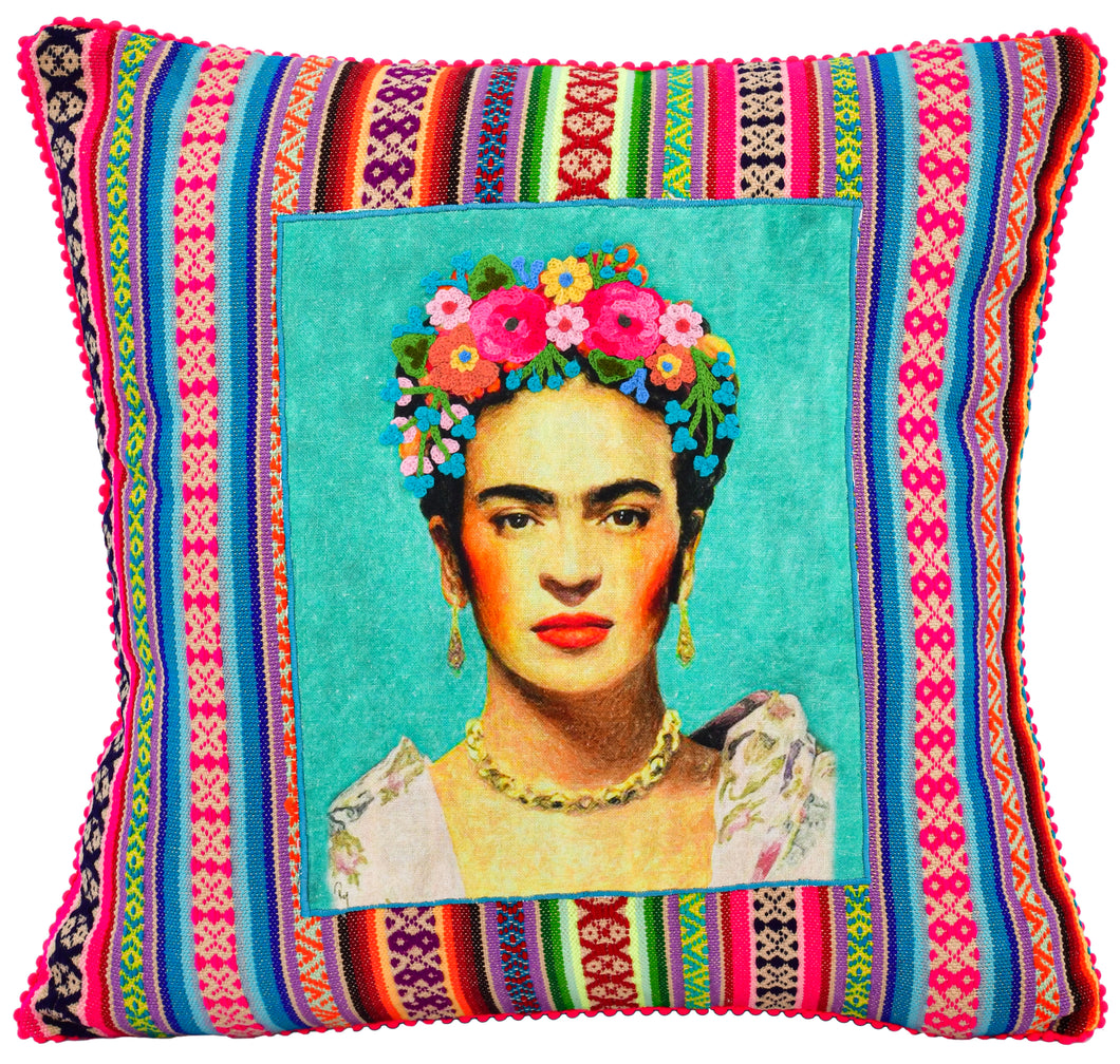 Patched Green Frida Pillow
