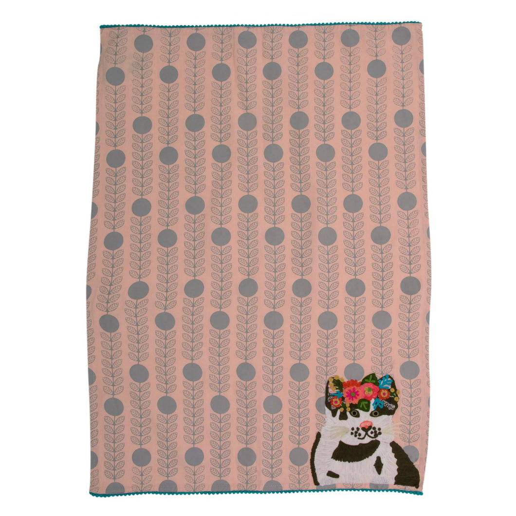 Beautiful Cat Embroidered Tea Towel 19