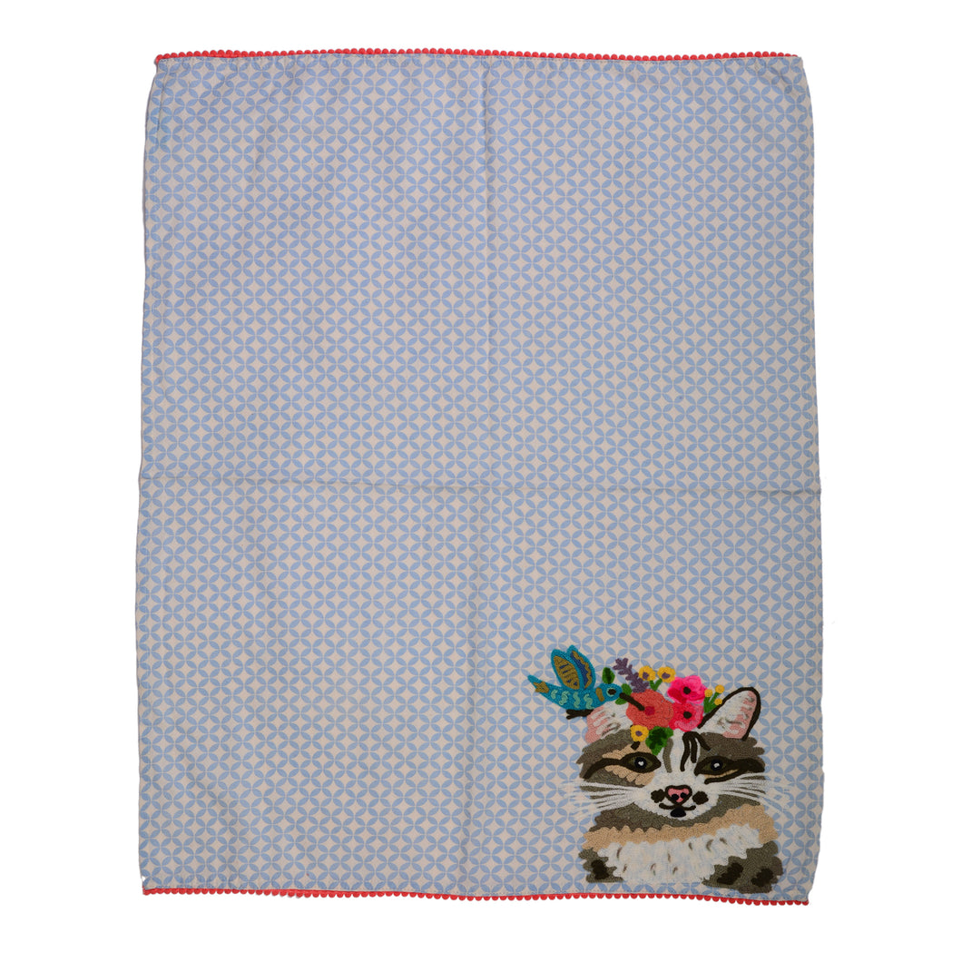 Cat with Bird Embroidery Tea Towel 19