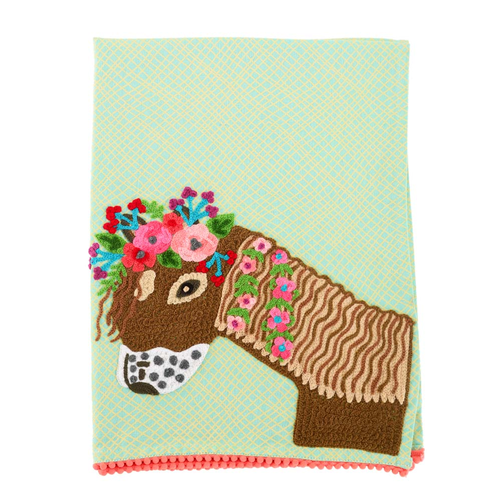 Cute Pony Embroidered Tea Towel 19