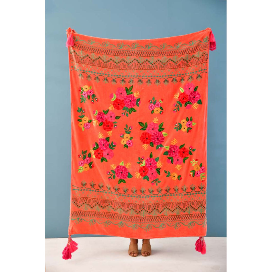 Coral Velvet Embroidery Throw