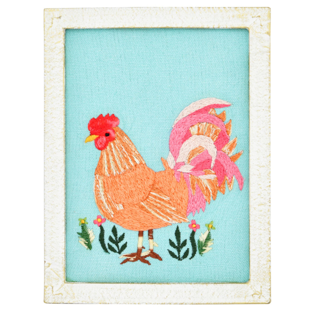 Chicken Embroidery Wall Art 6x8