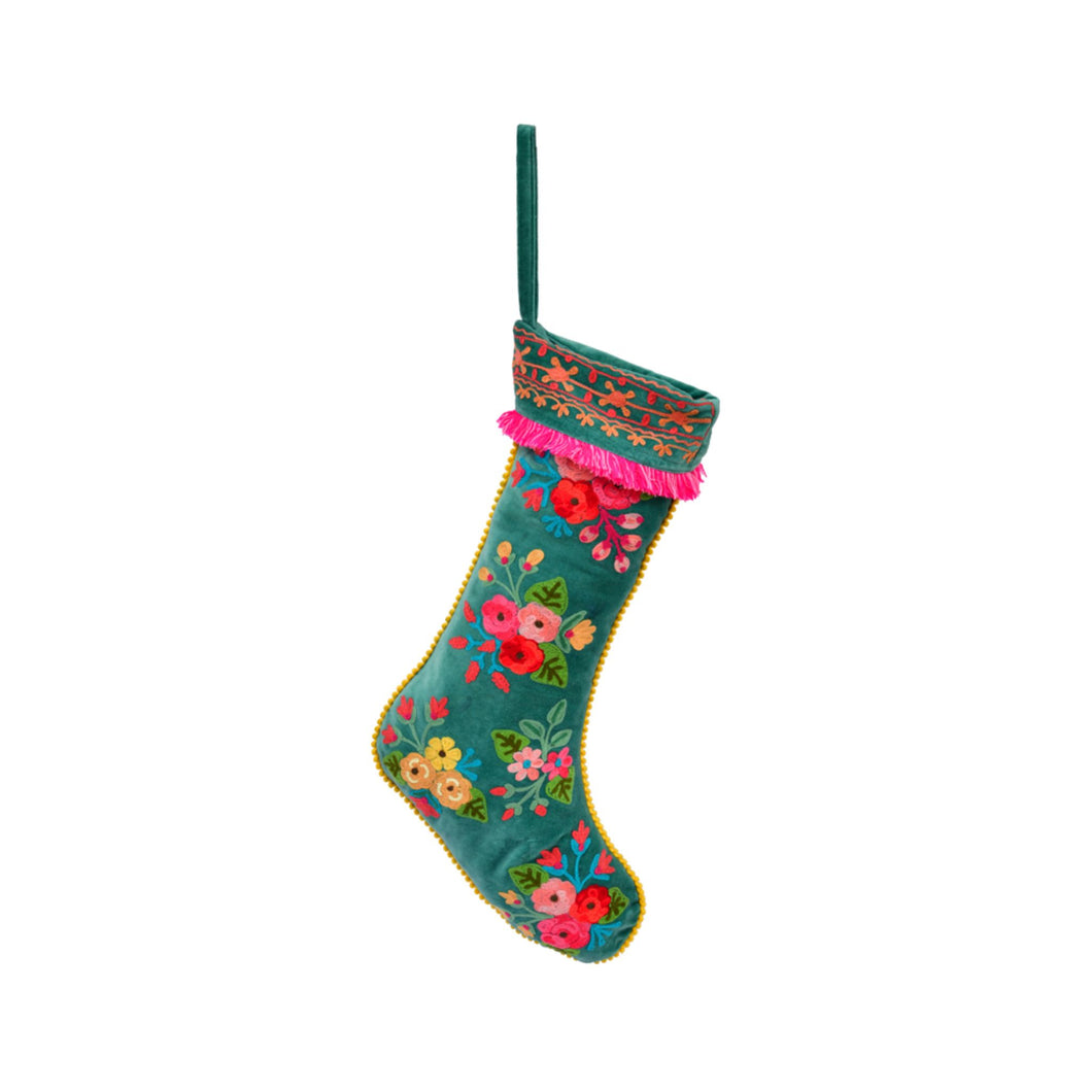 Holiday Stocking Floral Embroidery Velvet 12