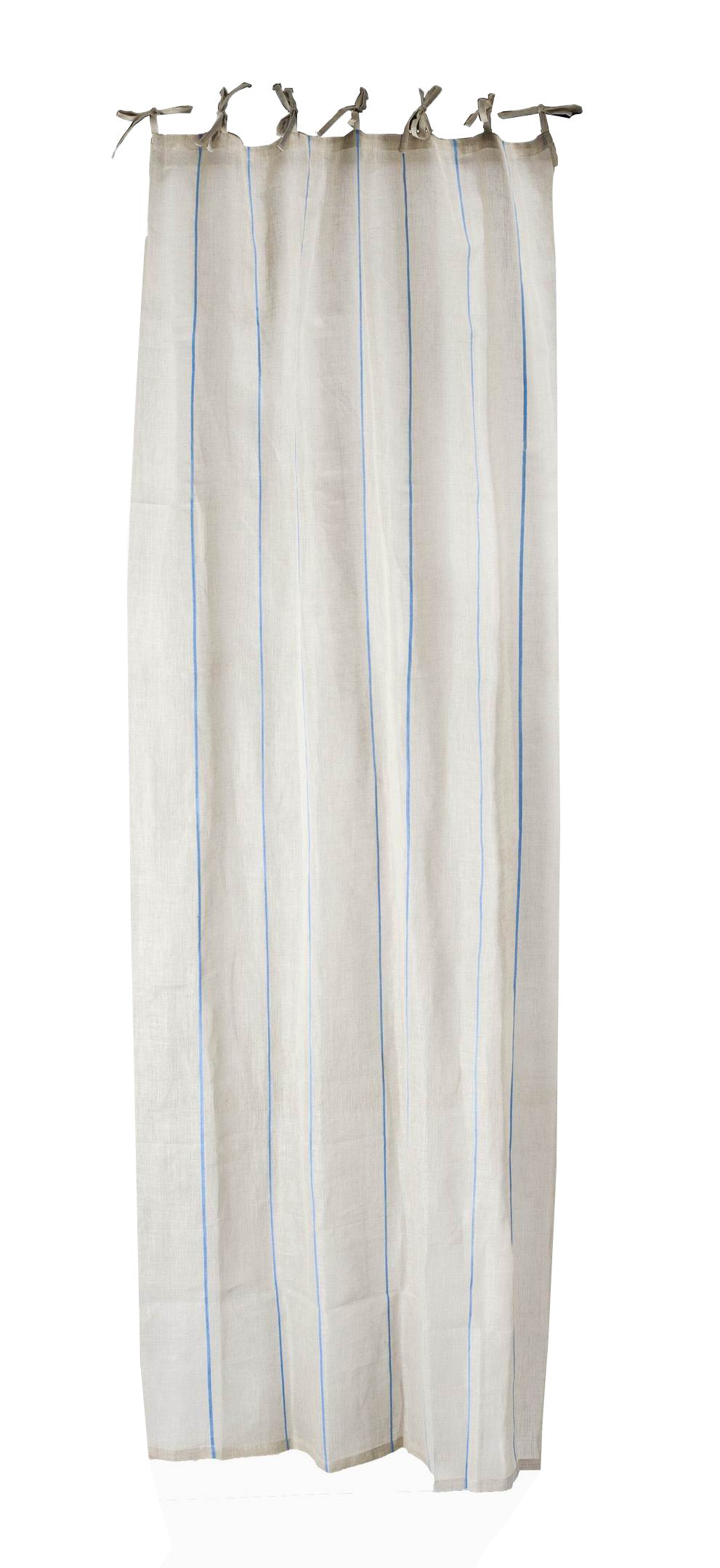 Thin Vertical Indigo Striped Linen Curtain