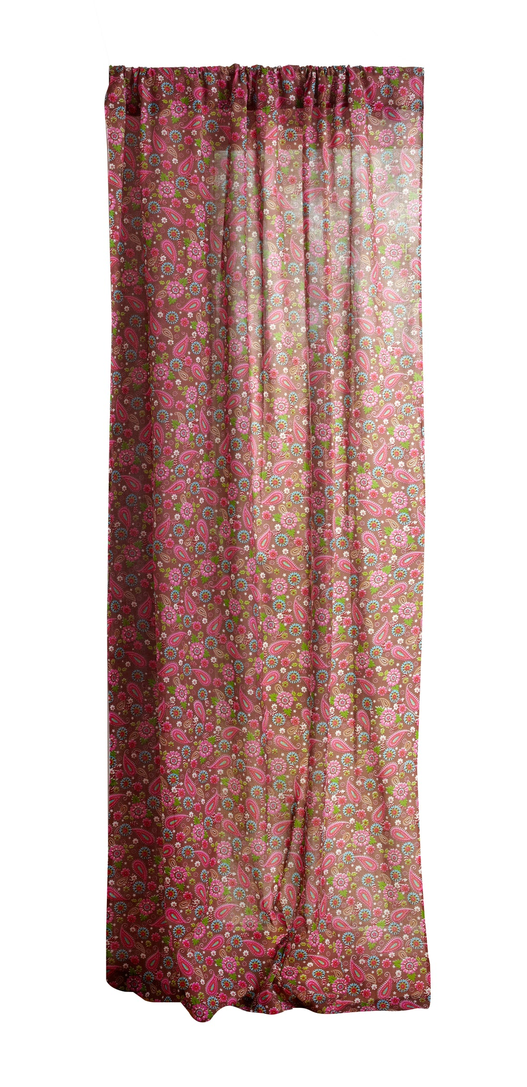 Pink Paisley Cotton Printed Curtain 44