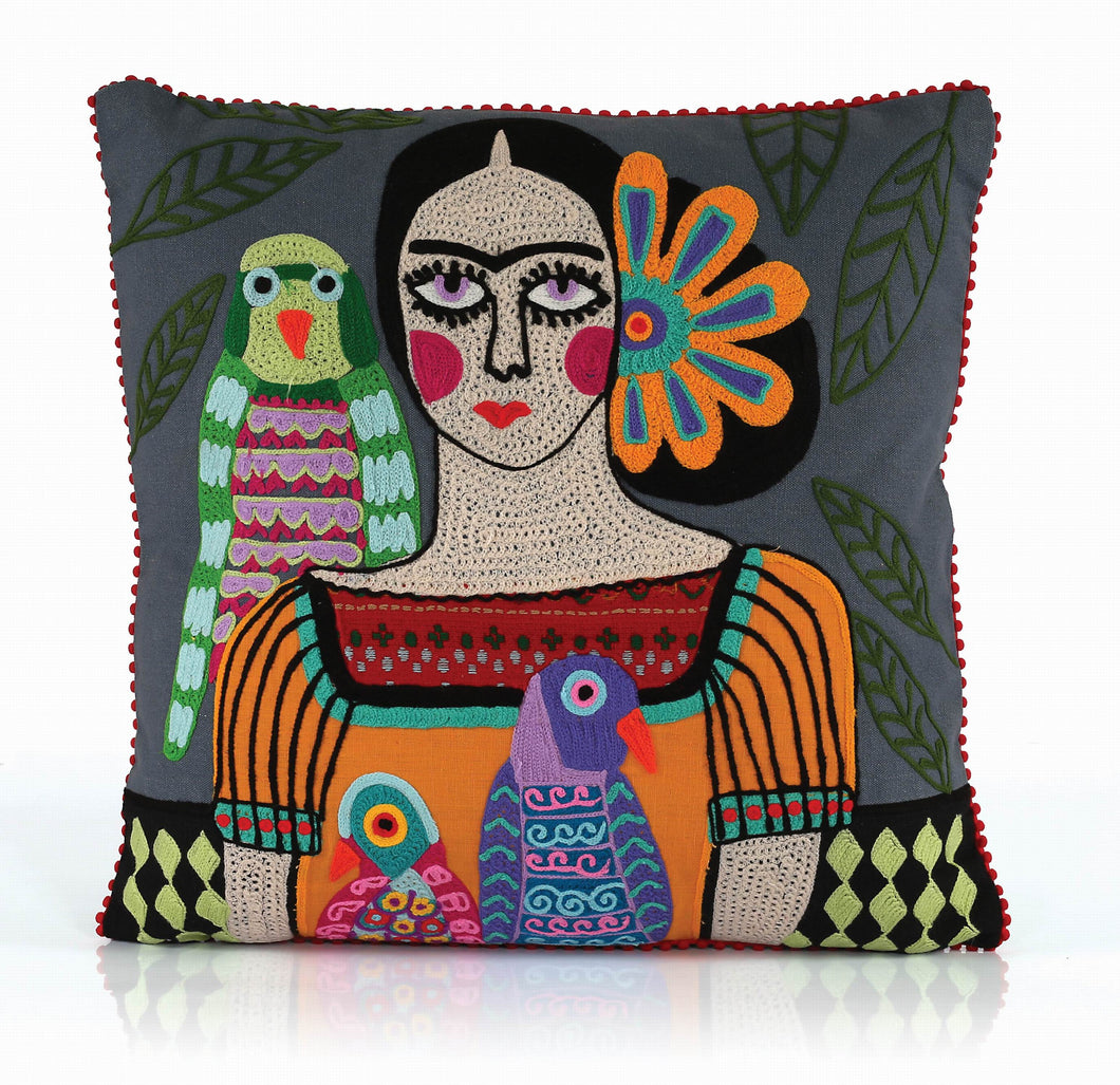 Frida pillow with parrot on her shoulder 18