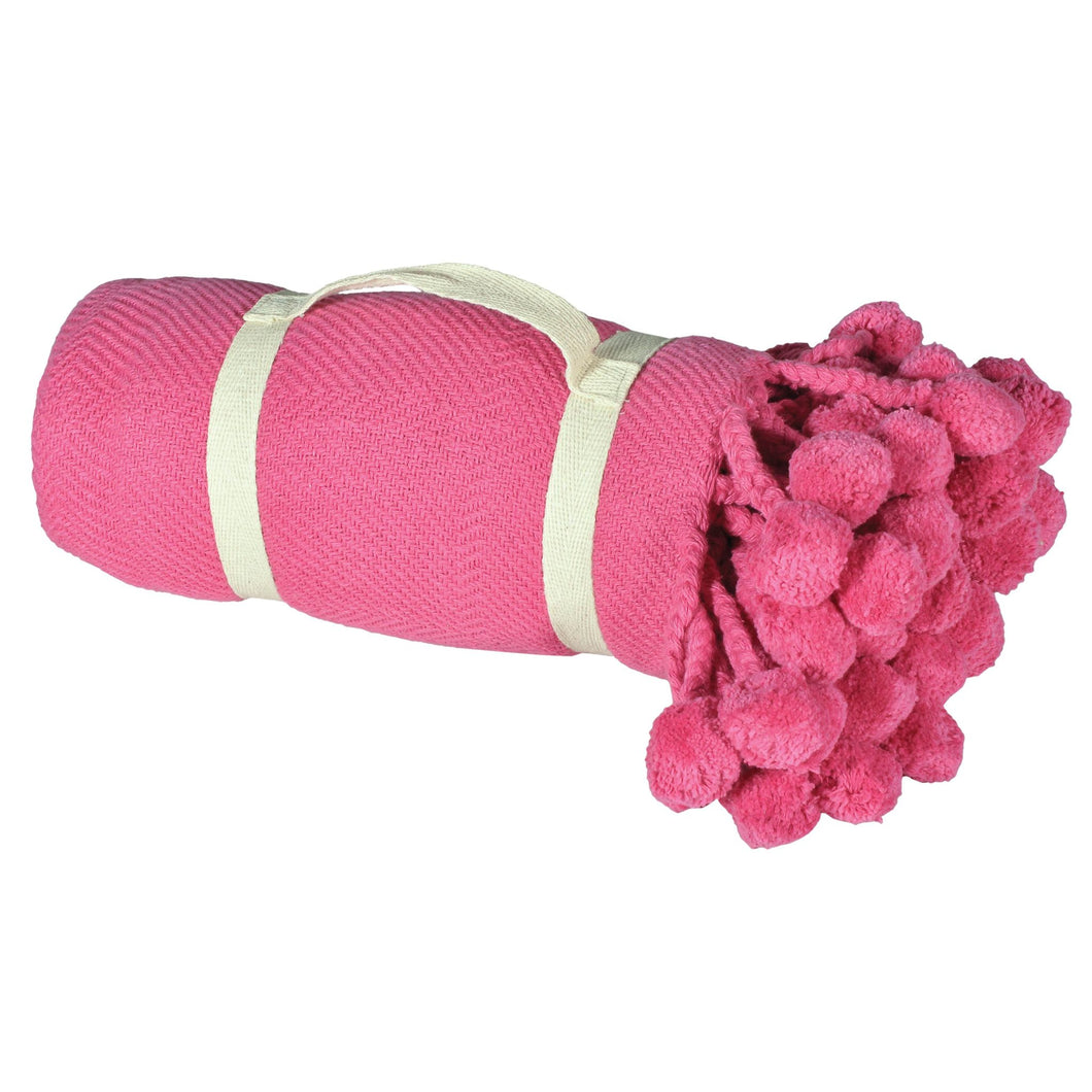Carmine Pink Pompom Cotton Throw 50