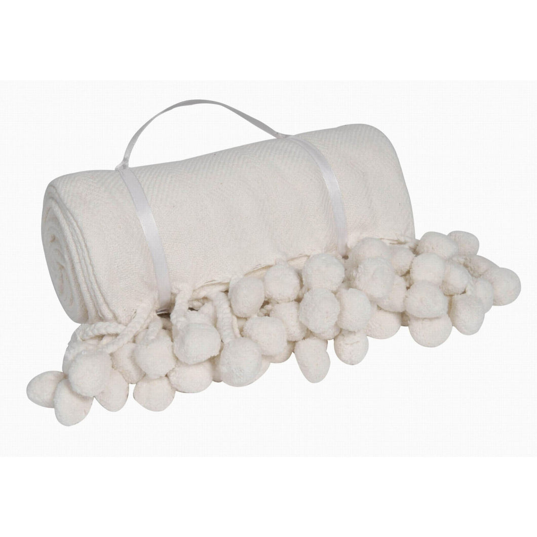 Pompom White Throw 50
