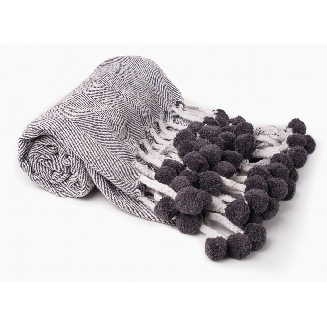 Charcoal Herring Bone Cotton Throw 50