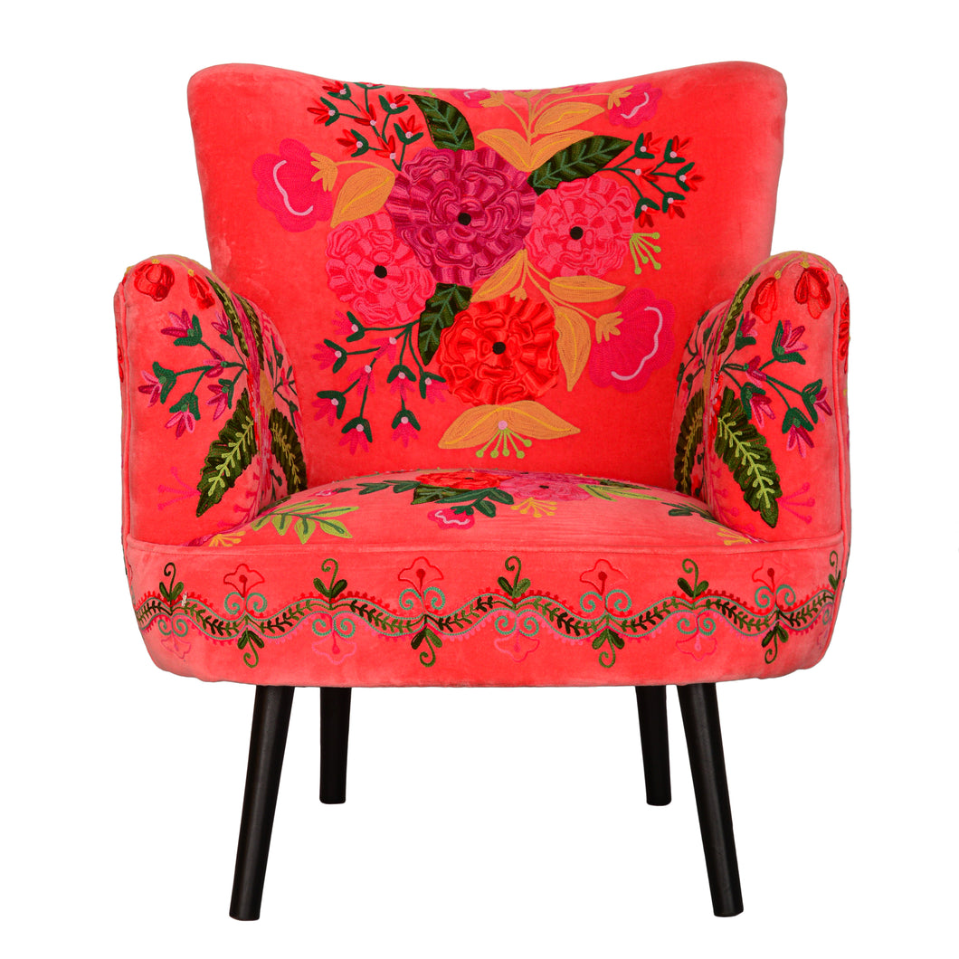 Precious Flowers Velvet Coral Chair