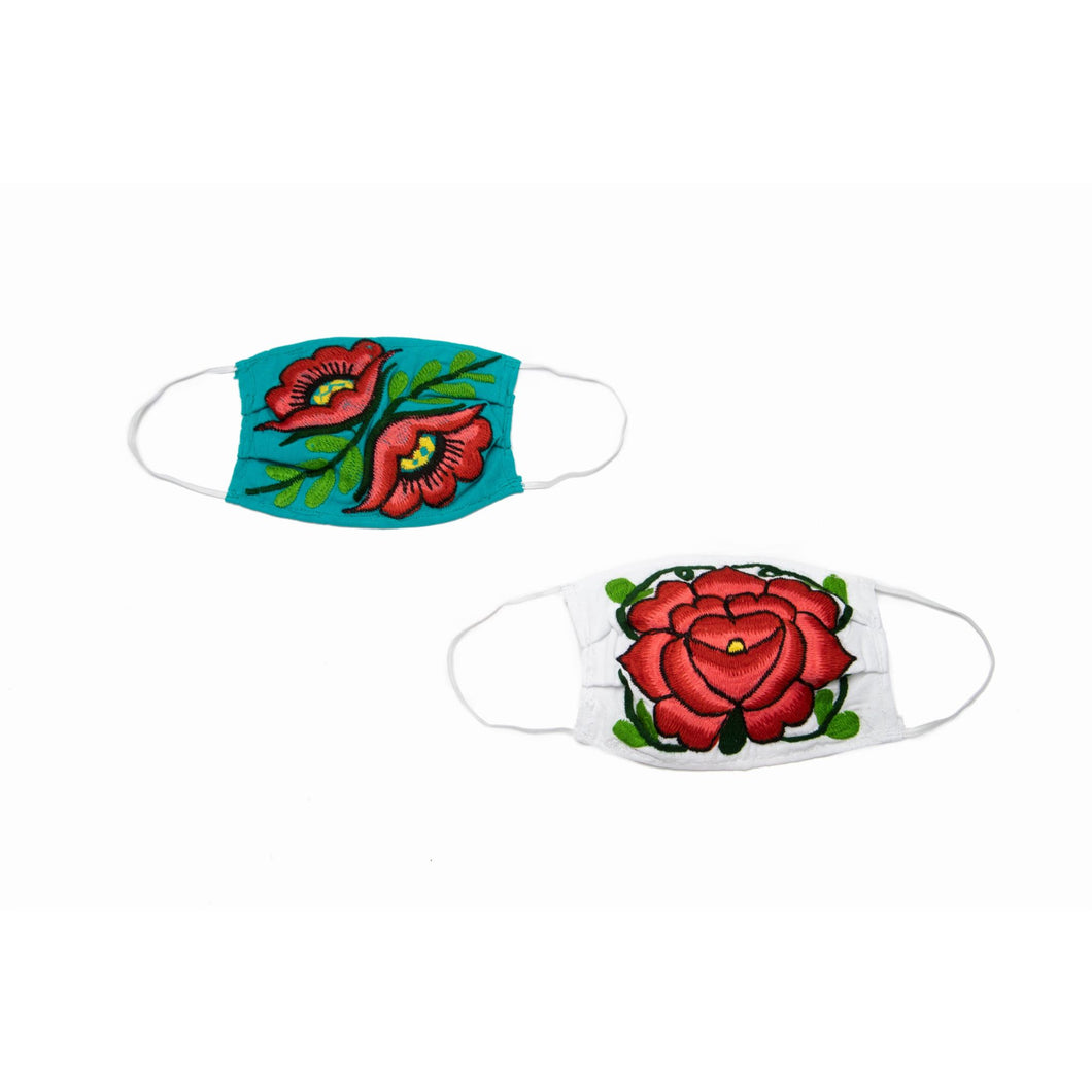 Chiapas 2 Layer Cotton Masks in Turquoise/White - Set of 2