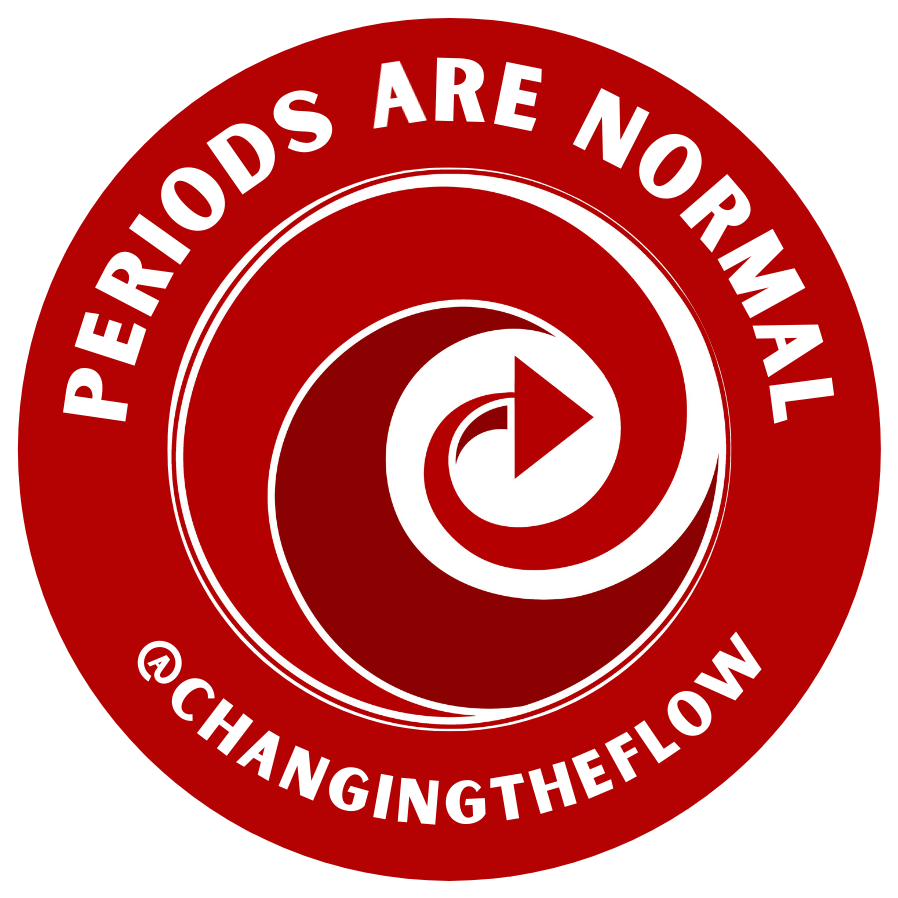 Image of Changing The Flow logo in red circle with the phrase 'periods are normal'