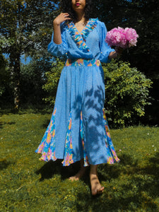 VINTAGE SUSAN FREIS 1980s Blue Floral Peasant Dress Made in USA