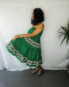 Handmade Green Bohemian Off Shoulder Dress