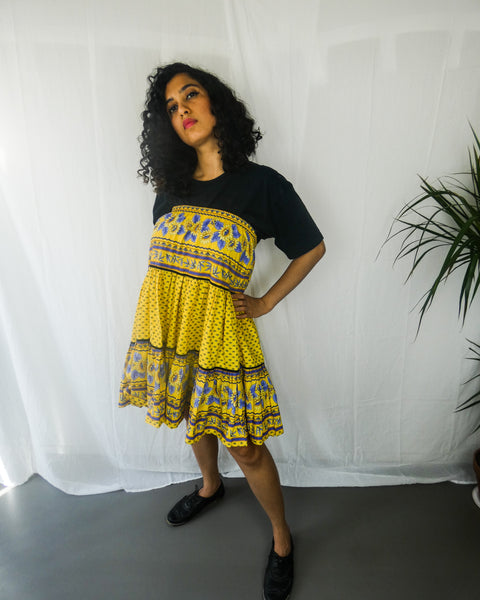 Yellow Bohemian Off Shoulder Dress