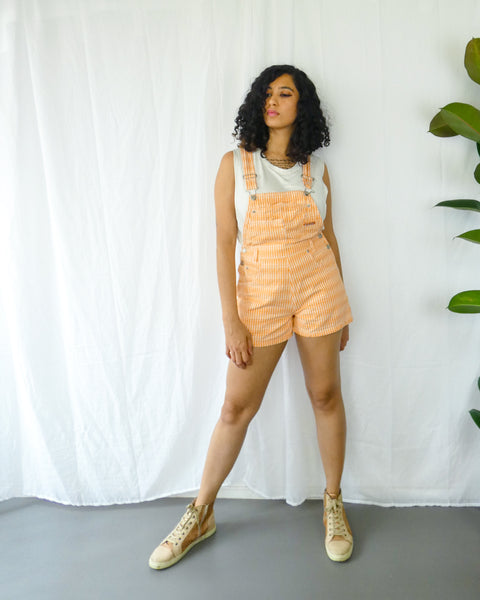 Orange Striped Mini Dungarees