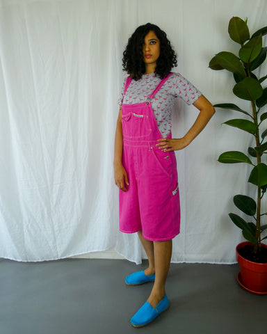 Vintage Loose Fit Hot Pink Dungaree