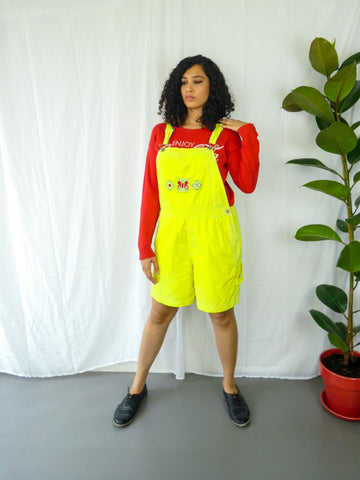 Neon Yellow Dungaree with Quirky Embroidery