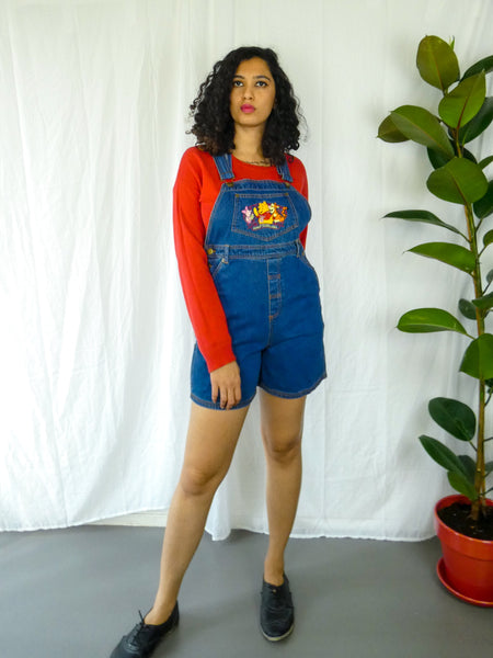 Nostalgia Disney Denim Dungaree with Pooh, Piglet and Tigger