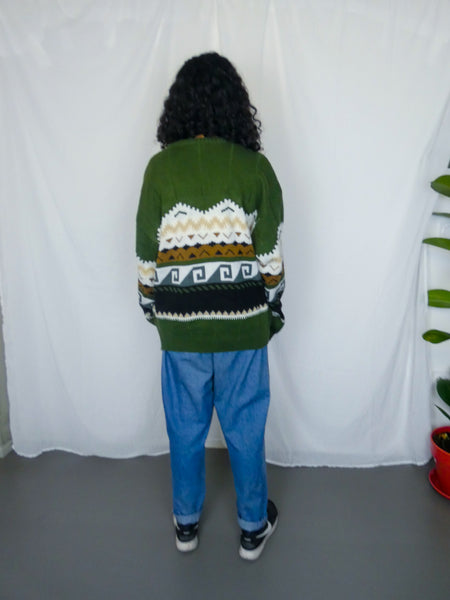 Vintage Chunky Green Patterned Sweater